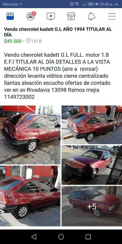 Vendo Chevrolet Kadett G.l 1.8 Nafta