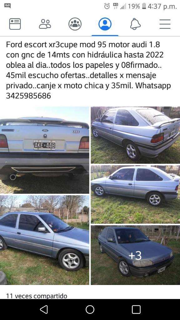 Ford Escord Xr3cupe Mod 95 con Gnc